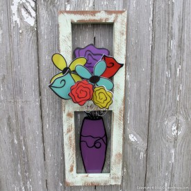 Recycled flowers from Colleen Attara http://www.colleenattara.com/shop/recycled-window-with-a-vase-of-flowers-eggplant/