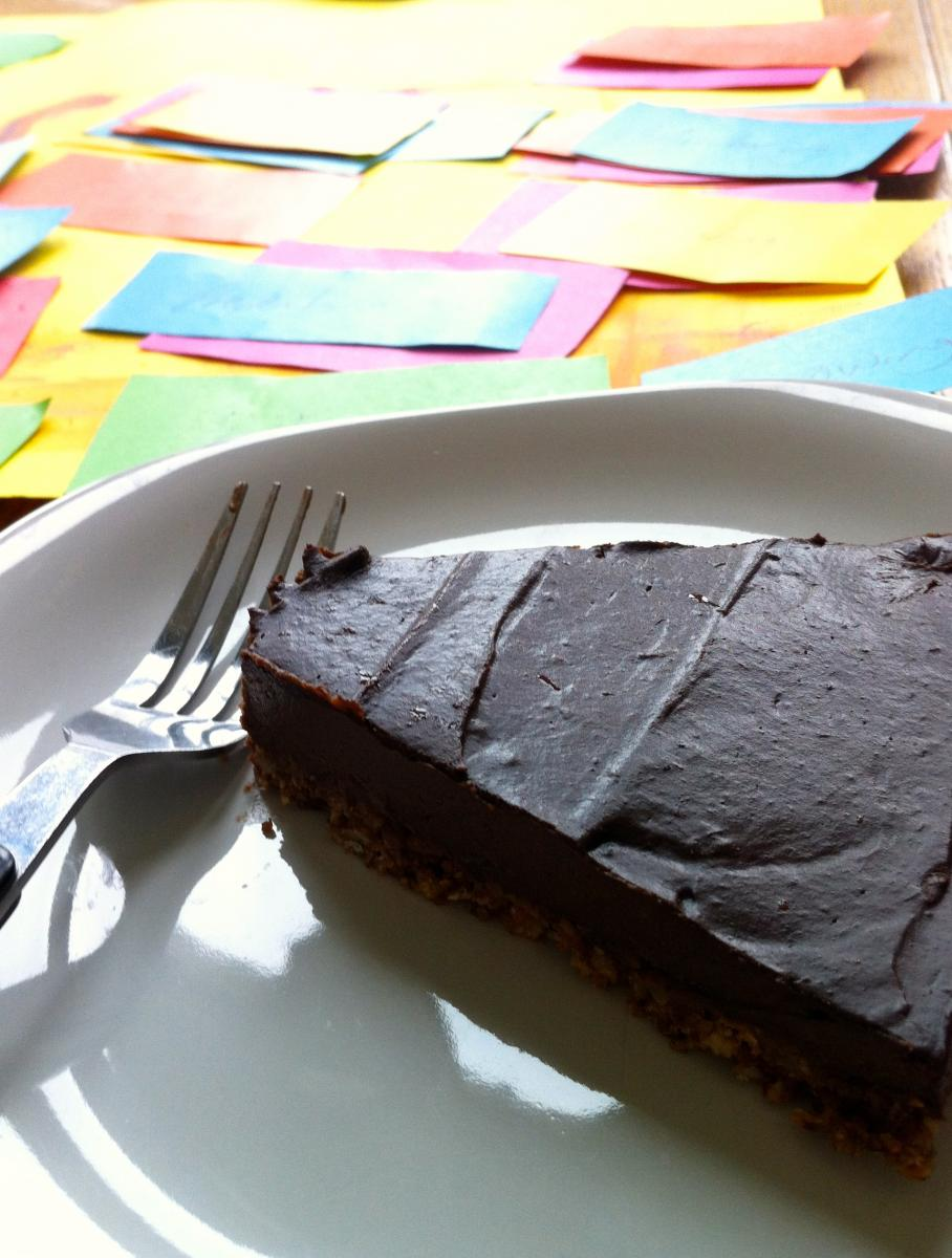 Enjoying Kate Binnie's chocolate tart as we got creative