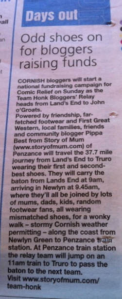 Story of Mum Team Honk in the Cornishman