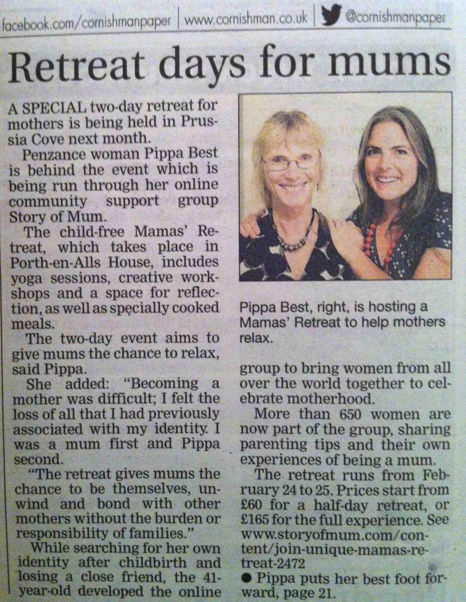 Story of Mum Mamas' Retreats in the Cornishman