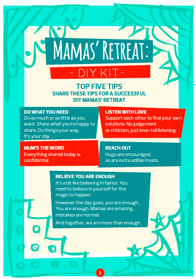 A page from Story of Mums' DIY Mamas' Retreat Kit