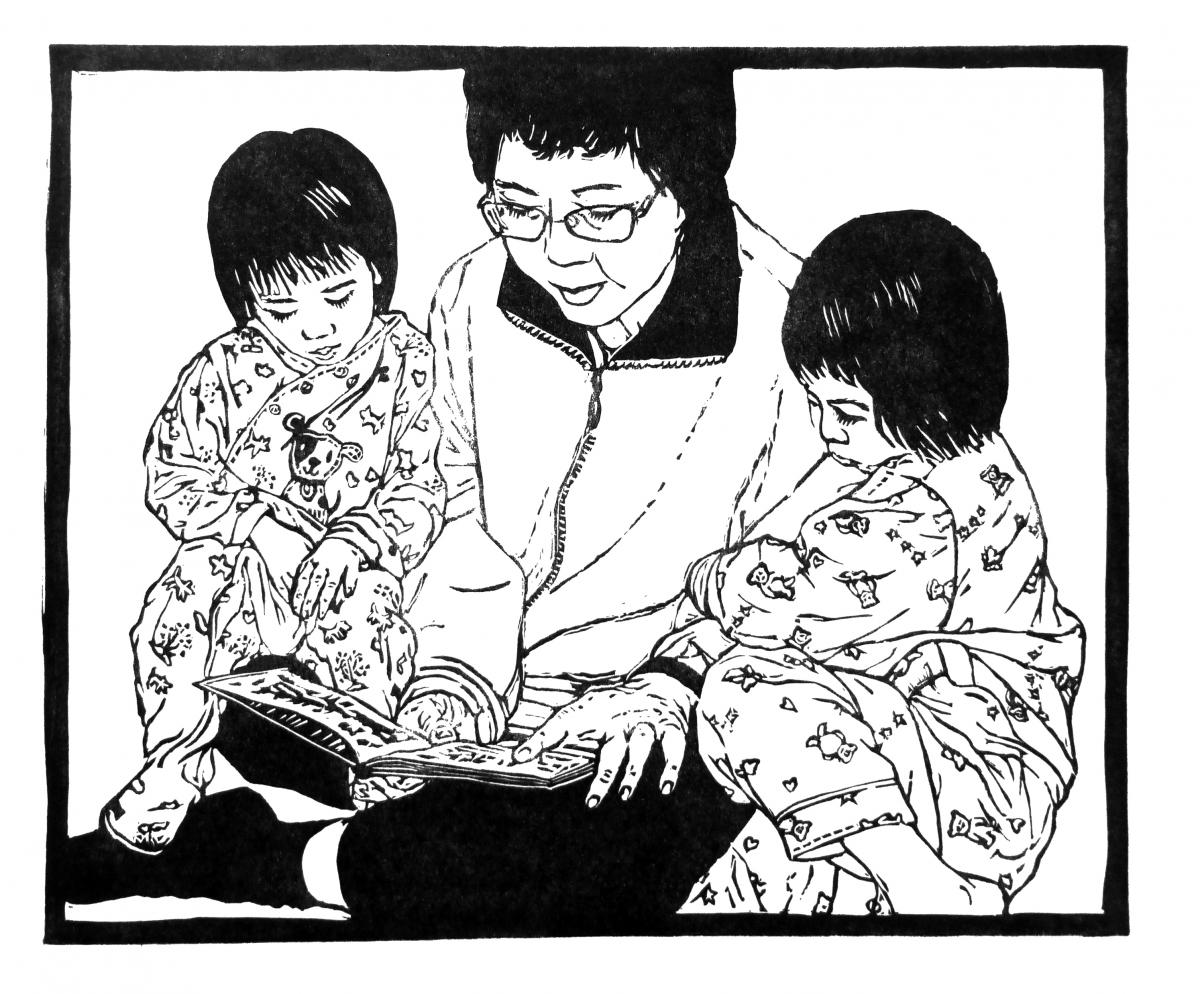 Sharon Low - Storytime, Grandmother and Grandchildren - from Motherhood exhibition/book