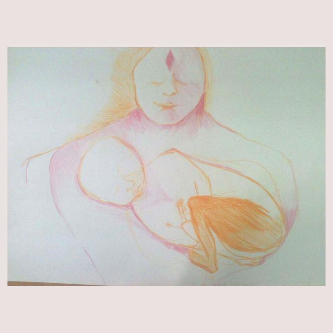 """""""Holding my inner child"""" June 2013 pencil on paper"""