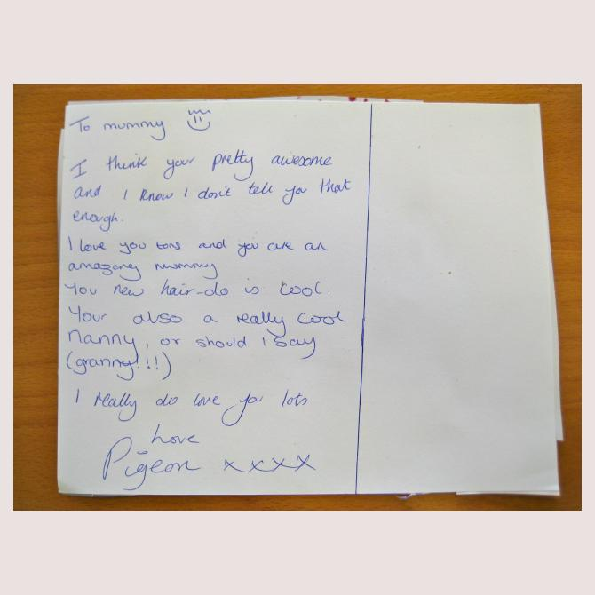 Tiffy's Postcard to a Supermum
