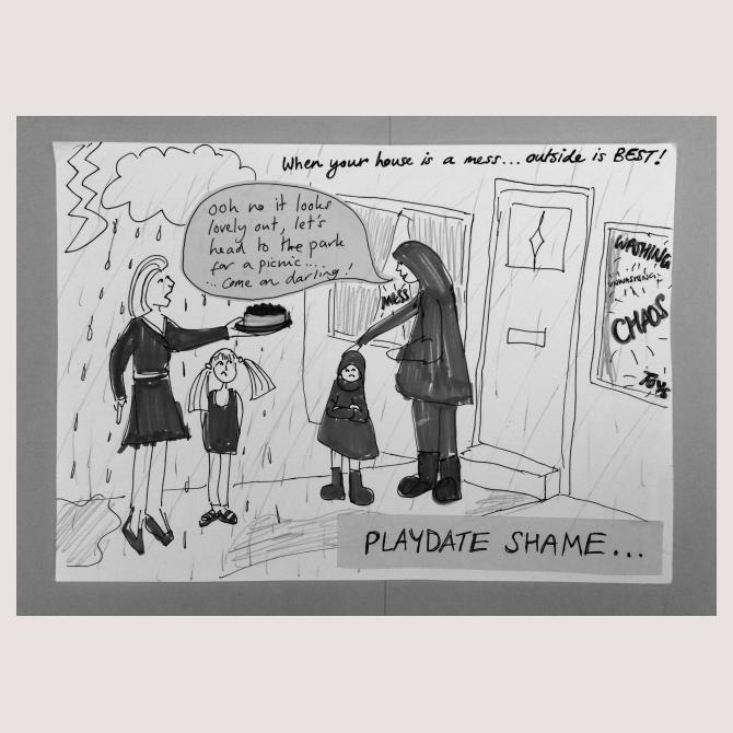 Playdate shame: When your house is a mess... outside is best!