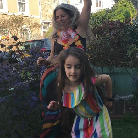 #familydiscohour dancing in the front garden