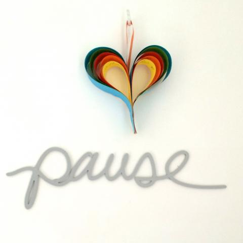 Pause by Colleen Attara, paper heart by Story of Mum!